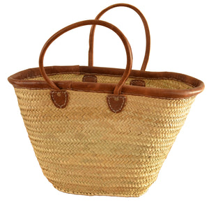 Erfoud Light Leather French Market Basket
