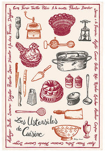 "Utensiles de Cusine 19""x28"" Cotton French Image Dishtowel"