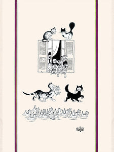 "Chats par le Fenetre 19""x28"" Cotton French Image Dishtowel"