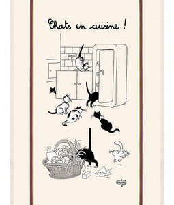 "Chats en Cuisine 19""x28"" Cotton French Image Dishtowel"