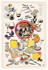 "Les Grands Fromages 19""x28"" Cotton French Image Dishtowel"