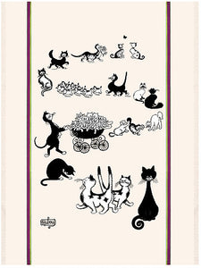 "Multi Chats 19""x28"" Cotton French Image Dishtowel"