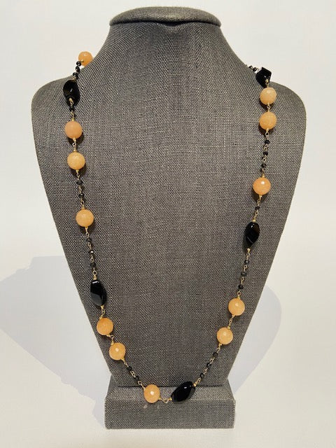 French Sautoir with Oesite, Onyx and Rosary by Bijo