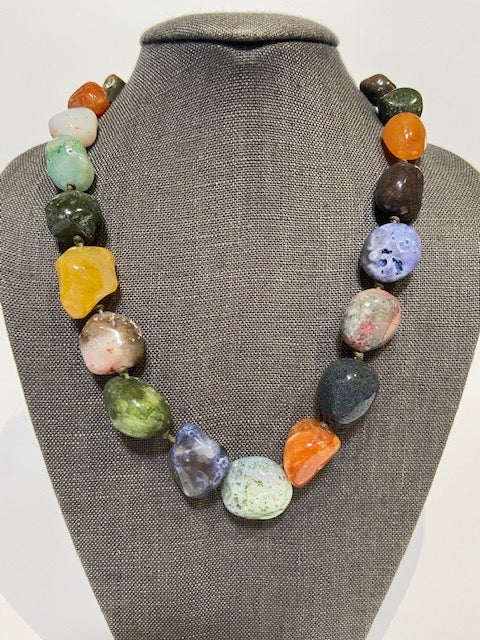 French Chunky Choker with Multi Color Agates by Bijo