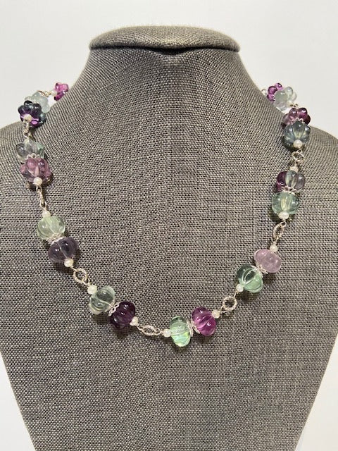 French Fluorite & Freshwater Pearls Necklace by Bijo