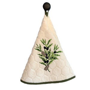 "Olive Branch Natural 28"" Round Terry Dishtowels"