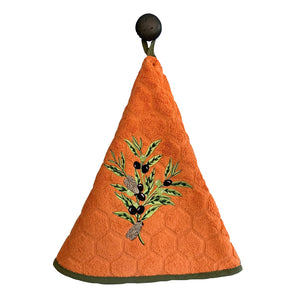 "Olive Branch Orange 28"" Round Terry Dishtowels"