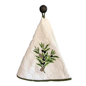 "Olive Branch White 28"" Round Terry Dishtowels"