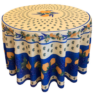 "Lemons Blue 70"" Round Polyester Tablecloth"