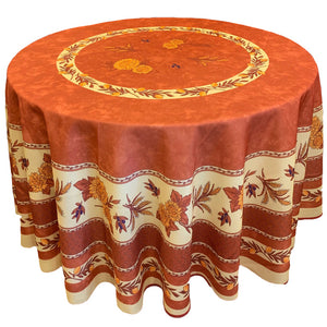 "Sunflower Rust 70"" Round Polyester Tablecloth"