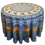 "Wheat Blue 70"" Round Polyester Tablecloth"