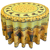 "Wheat Yellow 70"" Round Polyester Tablecloth"