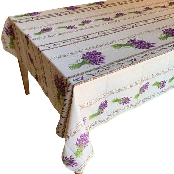 Lavender Natural Rectangular Polyester Tablecloth - choose your size