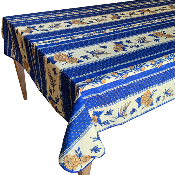 Sunflower Blue Rectangular Polyester Tablecloth - choose your size