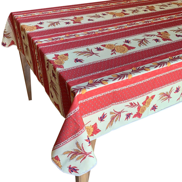 Sunflower Rust Rectangular Polyester Tablecloth - choose your size