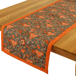 "Columbe Grey Orange Quilted Table Runner 17""x58"""