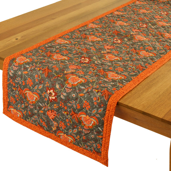 Columbe Grey Orange Quilted Table Runner 17