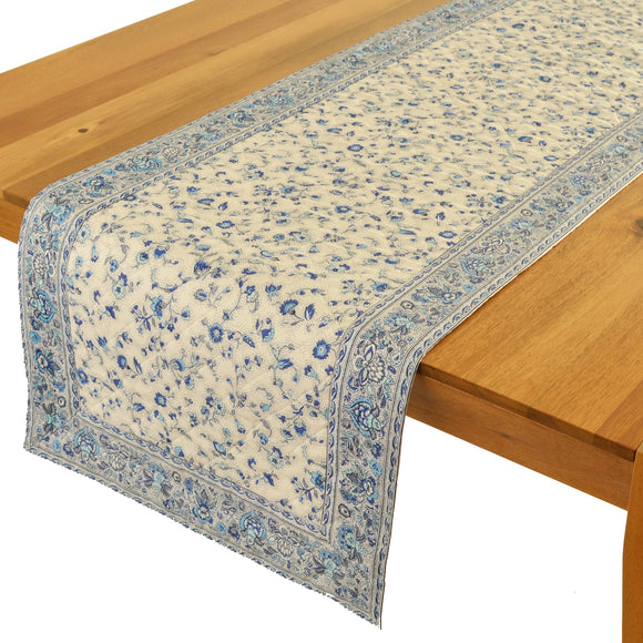 Fleur de Champs Natural Blue Quilted Table Runner 17