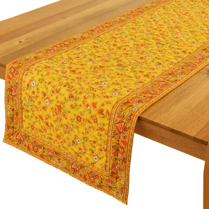 "Fleur de Champs Yellow Quilted Table Runner 17""x58"""