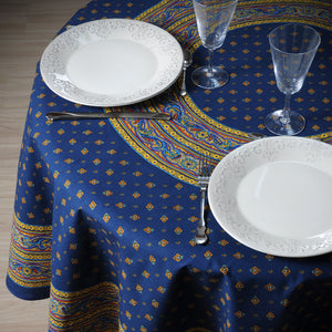 "Galon Blue 70"" Round Coated Cotton Tablecloth"