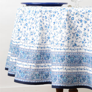 "Gentiane White Blue 70"" Round Coated Cotton Tablecloth"