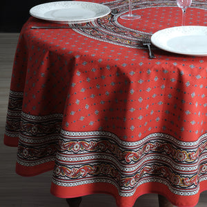 "Galon Red 70"" Round Coated Cotton Tablecloth"