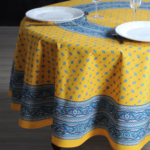 "Galon Yellow 70"" Round Coated Cotton Tablecloth"
