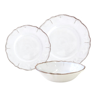 Antiqua White 12 piece Melamine Dinnerware Set