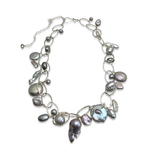 PLATINUM GREY PEARL LUX ORGANIC STERLING SILVER NECKLACE