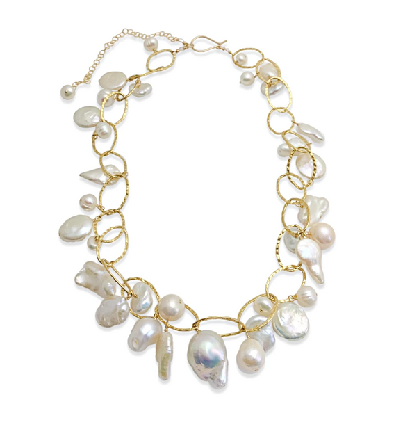 IVORY PEARL LUX ORGANIC GOLD FIELD NECKLACE