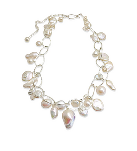 IVORY PEARL LUX ORGANIC STERLING SILVER NECKLACE