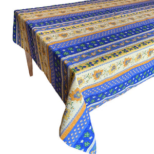 Monaco Blue Rectangular Coated Cotton Tablecloth - choose your size
