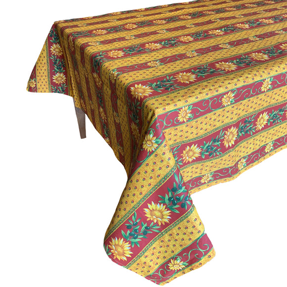 Sunflower Yellow/Red Rectangular Coated Cotton Tablecloth - choose your size