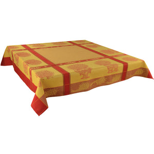 "Valayans Yellow 63""x63"" Square Jacquard Tablecloth"