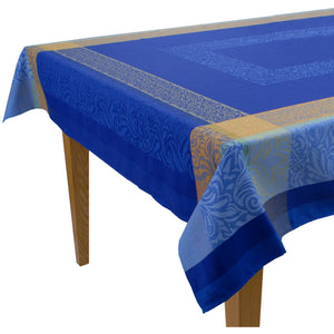 "Bargeme Blue Jacquard Tablecloth (63""x118"" only)"