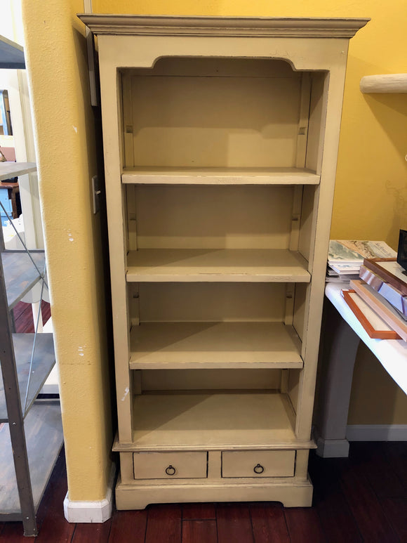 Beige Bookshelf with Drawers