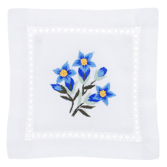 Blue Flower Hand Embroidered Lavender Sachet made in France