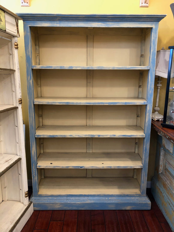 Distressed Blue Bookshelf