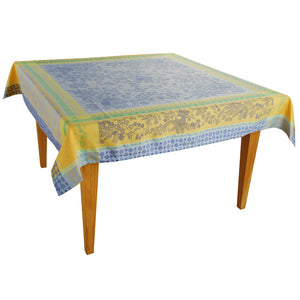 "Cotignac Blue Jacquard Tablecloth - (63""x63"" Square only)"