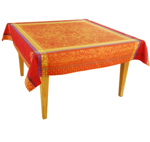 Cotignac Orange Jacquard Tablecloth - choose your size