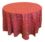 "Gentiane Red 70"" Round Coated Cotton Tablecloth"