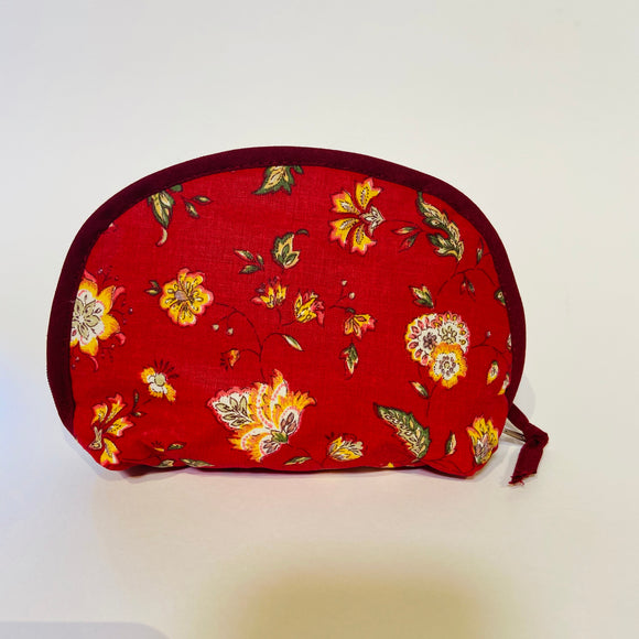 "Provence Floral Red Cotton Makeup Bags 6""x5"""