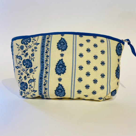 Palmette Natural/Blue Cotton Makeup Bags 10