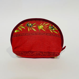 "Olive Baux Red Cotton Makeup Bags 6""x5"""