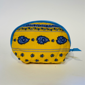 "Palmette Yellow/Blue Cotton Makeup Bags 6""x5"""