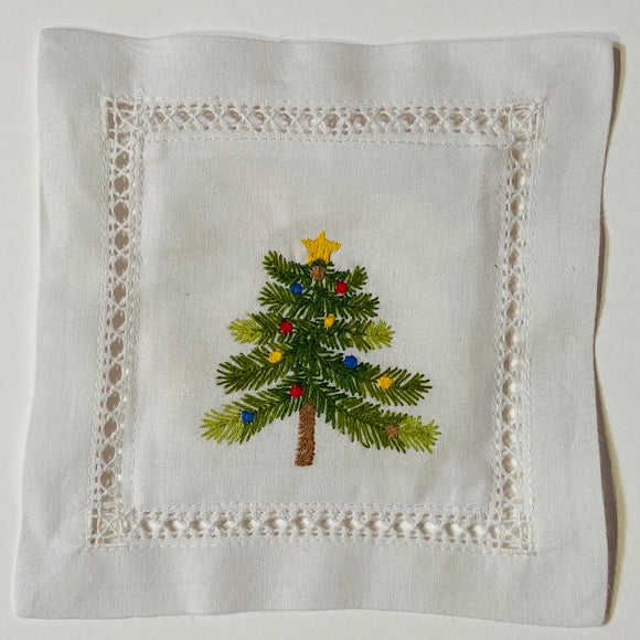 Holiday Tree Hand Embroidered Lavender Sachet