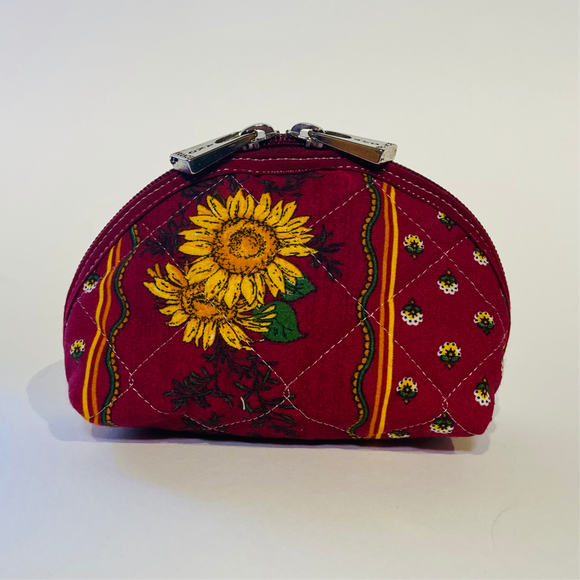 "Sunflower Red Quilted Cotton Makeup Bags 6""x4"""