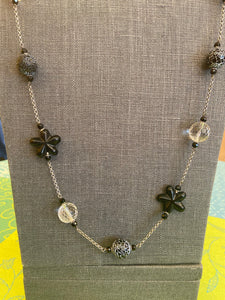Onyx and Crystal Necklace by Bijou
