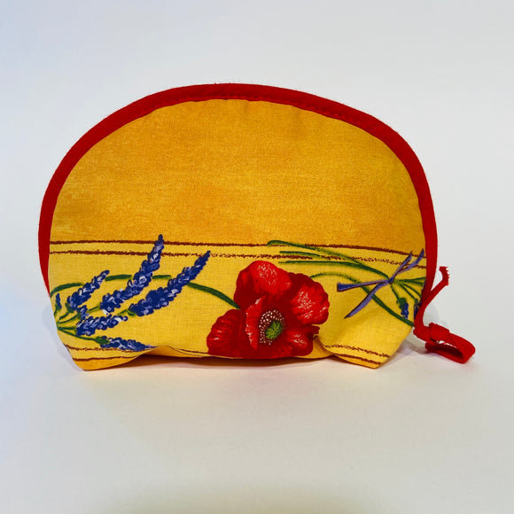 "Poppy Yellow Cotton Makeup Bags 6""x5"""