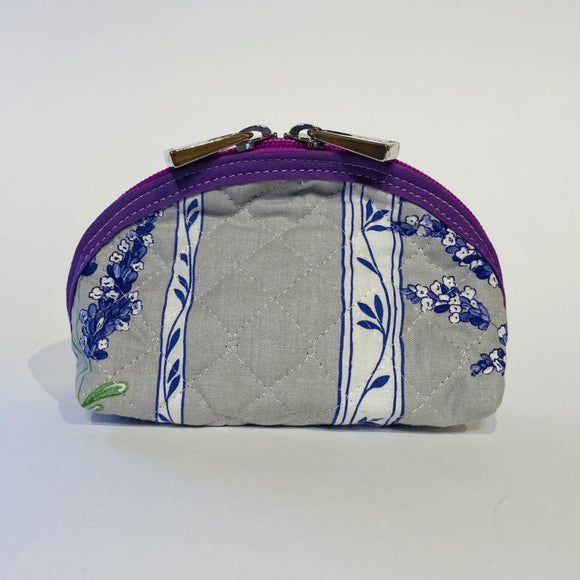 "Lavender Purple Grey Quilted Cotton Makeup Bags 6""x4"""